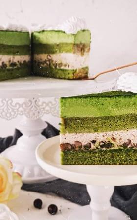 sweetologistco Green Tea Red Bean Mousse Cake