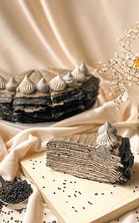 Charcoal Black Sesame Mille Crepe Slice